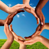 picture of holistic  - Conceptual peace and cultural diversity symbol of multiracial hands making a circle together on blue sky and green grass background - JPG
