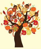 stock photo of acorn  - vector illustration of a tree in fall - JPG