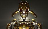 stock photo of trooper  - 3d render of advanced robot cyborg skeleton - JPG