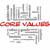 picture of conduction  - Core Values Word Cloud Concept in red and black letters with great terms such as mission statement ethics vision code and more - JPG
