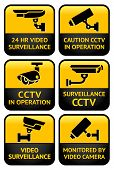 stock photo of cctv  - Warning set Sticker for Security Alarm CCTV Camera Surveillance - JPG