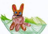 Child's drawing. Rabbit on meadow.