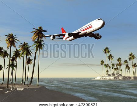 Airliner flying over a tropical area
