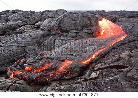 Active Pahoehoe-type Lava Flow In Hawaii