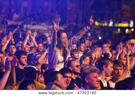 People Dance During Rock Concert