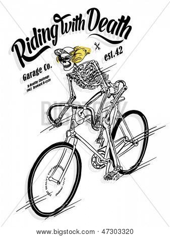 illustration sketch bicycle with skeleton skull