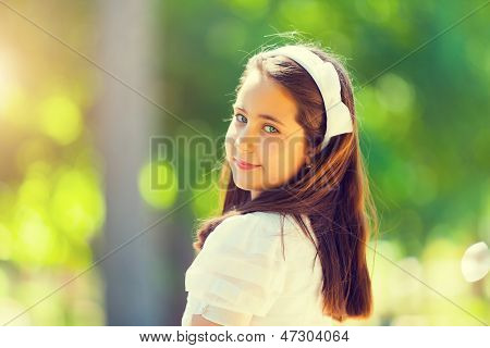Portrait Of A Little Girl In Her First Communion Day