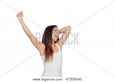 Brunette girl yawning and stretching morning isolated on white background