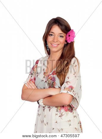 Beautiful girl with a flower on the head isolated on white background