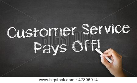 Customer Service Pays Off Chalk Illustration