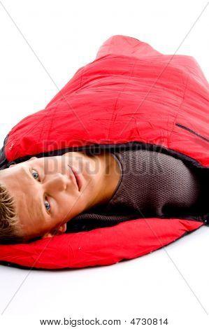Camper - Man Resting In Sleeping Bag