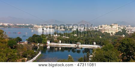 Udaipur. View Of Lake Pichola, City Palace And Taj Lake Palace.