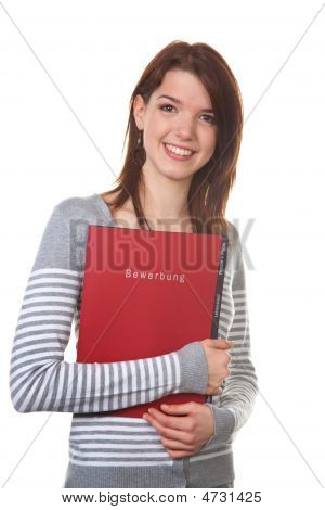 Woman With Briefcase Application For Interview