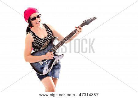 Hippie-Frau mit e-Gitarre