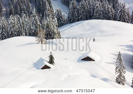 Deep Snow In Alps, Berchtesgaden, Bavaria, Germany