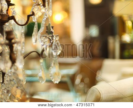 Chrystal Chandelier Close-up In Living Room