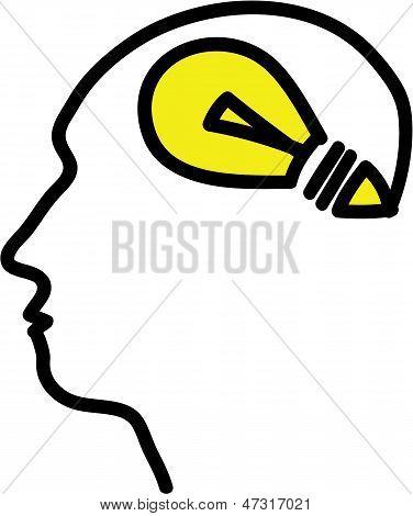 Head With Bulb Symbol
