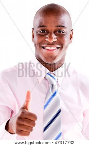 Business man with thumbs up - isolated over white background