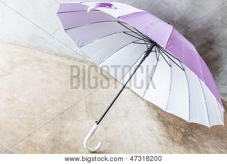Purple Silver Bronze Uv Protection Umbrella On The Floor