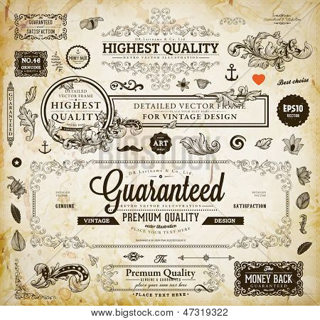 Vector set of calligraphic design elements: page decoration, Premium Quality and Satisfaction Guaran poster