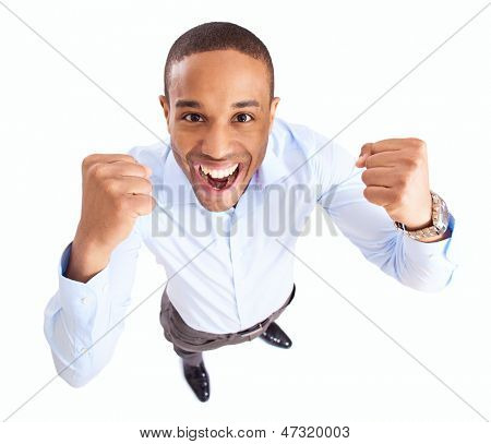 Young African Businessman Raises Fist In Joy Over White Background