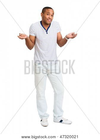 Portrait Of Confused African Man Isolated Over White Background