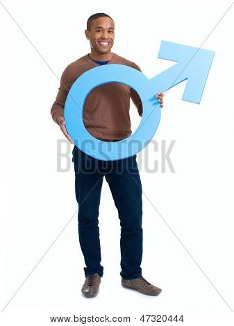 Happy Man Holding Male Sign Over White Background