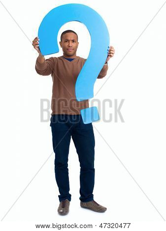 Man Holding Question Mark Sign Over White Background