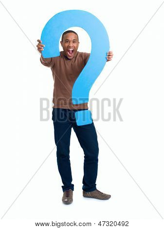Excited Man Holding Question Mark Sign Over White Background