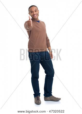 Happy Man Showing Thumb Up Sign Over White Background