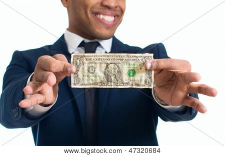 Happy Businessman Holding Currency Note Over White Background