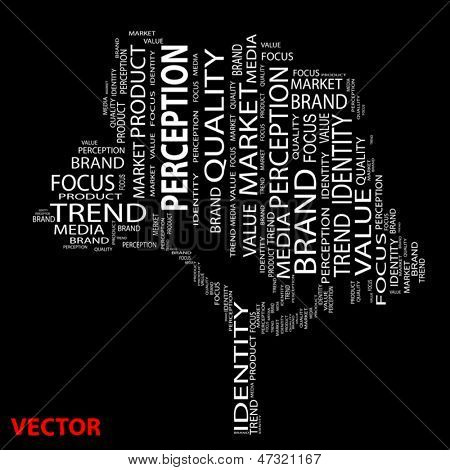 Vector eps concept or conceptual tree perception word cloud on black background wordcloud