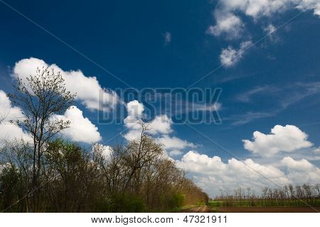 Unpaved Road Under The Clouds