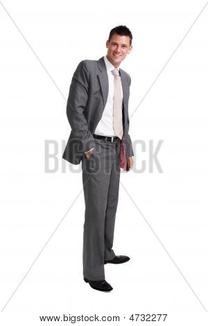 Young Handsome Businessman Isolated Over White Background