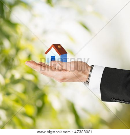 closeup picture of man hands holding eco house