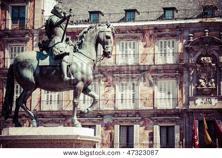 Bronze Equestrian Statue Of King Philip Iii From 1616 At The Plaza Mayor In Madrid, Spain.