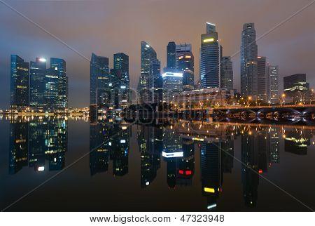 Modern City Skyline At Night