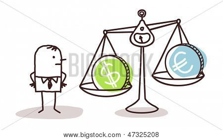 businessman and currencies in balance
