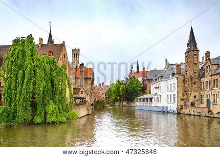 Bruges Or Brugge, Rozenhoedkaai Water Canal View. Belgium.