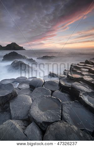 Sundown Over The Giants Causeway, North Ireland