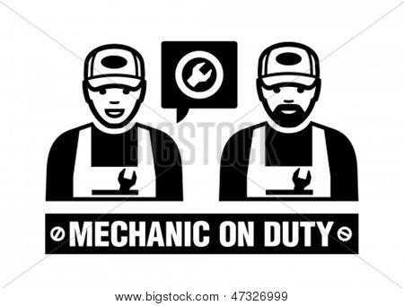 Mechanic icon. Mechanic on duty.