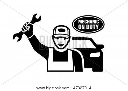 Mechanic holding a wrench.