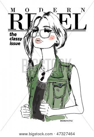 fashion sketch army illustration girl