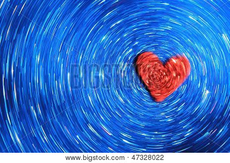 Red Love Heart and Blue Beauty Background
