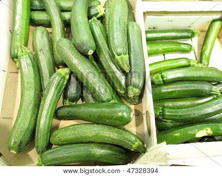 Green Zucchini Courgette  In The Supermarket
