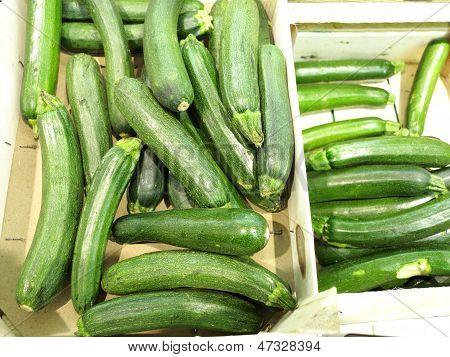 Green Zucchini Courgette  In The Supermarket