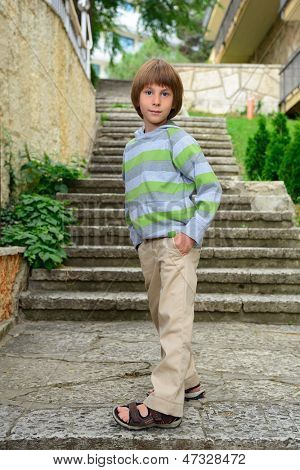 Summer outdoor portrait of cheerful calm carefree little boy
