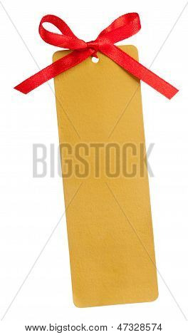 Gold Tag And Red Bow
