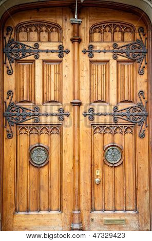 Old Wooden Doors With Brass Fixtures