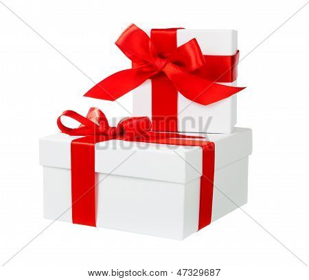 White Box Red Bow And Ribbon